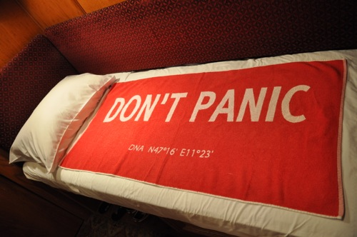 DON'T PANIC Towel at The Jane Hotel, New York City